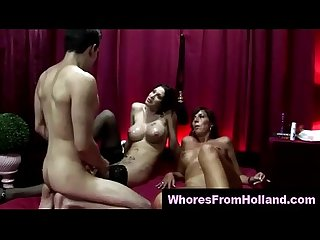 Amateur guy cums on dutch hooker and friend