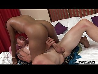 Oiled up and tanned asian slut straddles her man S cock