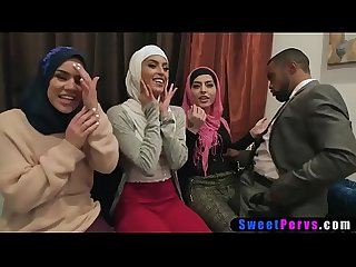 Muslim teen bride and arabian BFFs use a BBC stripper