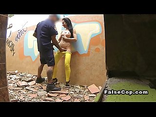 Fake cop records and fucks busty babe outdoor