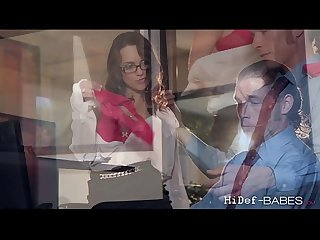 Brunette horny babe Jade Nile gets fucked in the office in missionary