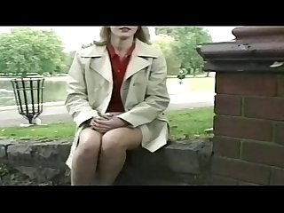 Nervous blonde milf flashing in the park