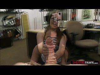 Attractive and blonde woman gets hammered by shawn in his office
