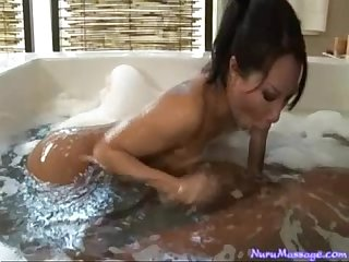 asian masseuse takes a load in her mouth