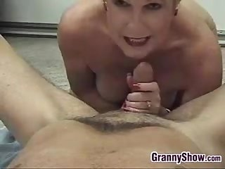 Blonde grandma enjoying cock point of view