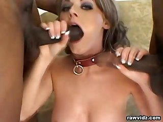 Hottie takes two black studs at once