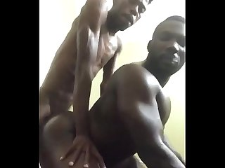 Horny gay bottom takes big skinny black dick doggystyle smoking fucking
