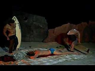 Hot muscular surfers at night