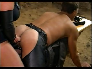 BBW Tiziana Redford fucks her devote slave with a strap-on dildo cooling him dow