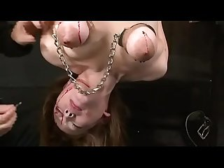 japan BDSM piercing breast with needle & nail