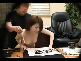 Schoolgirl sucking teacher getting her pussy fucked facial on the desk in the of