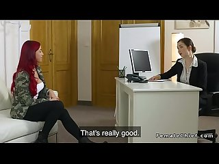Busty lesbians in female agents office