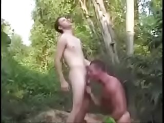 sexy gay boy seduces and fucks daddy outside