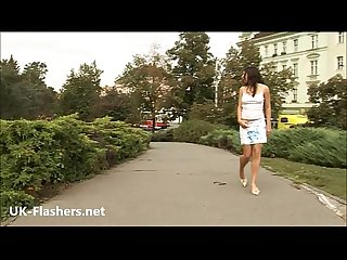 Amateur flashing babe Barbaras public masturbation and wild European exhibitioni