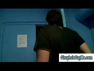 Amateur straight guy gets tricked into blowjob by gay dude in gloryhole