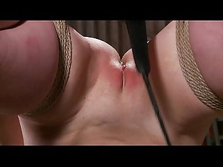 Hogtied sub gets pussy whipped by her lucky master
