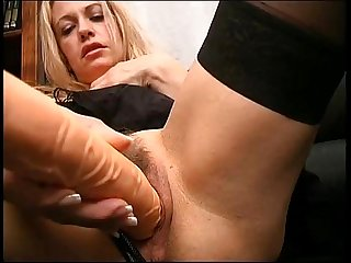 Huge dildo before huge cock