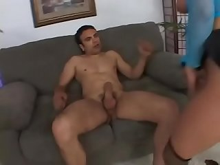 Big tit blonge georgia peach gets anal drilling on the couch