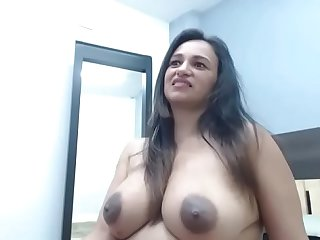 Thick Latina milf showing dark nipples