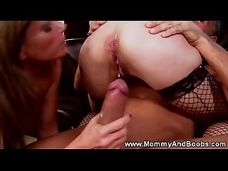 Busty milfs in threesome get hot pussy fucking