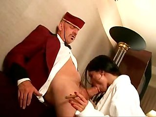 Rod Fonana as the Hotel Boy and wearing long black otc socks