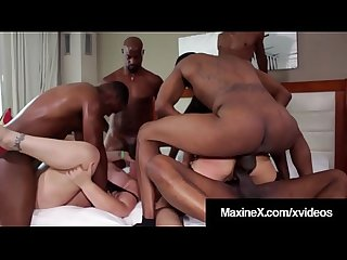 Asian Milf Maxine-X & Selah Rain Ass Fucked By 6 Black Cocks