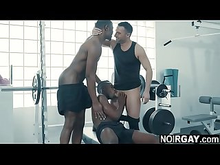 Two black gays fuck white guy in the gym - gay threesome sex