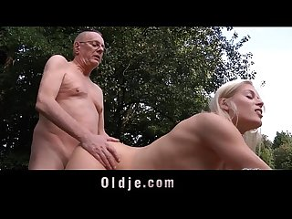 Teen Sweet Cat demands cock sucking and fucking from old butler
