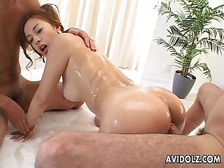 Fucking the lusty yet sticky Asian bitch in bed