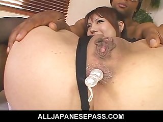 Two horny guys ass toy sexy Mei Amasakis tight little ass