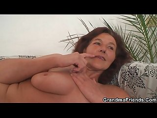 Two young painters screw nude granny