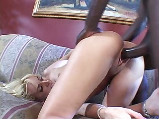 Hot blonde with a sexy rack spreads her legs for a big black cock