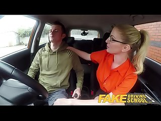 Fake Driving School Exam failure leads to hot sexy blonde car fuck