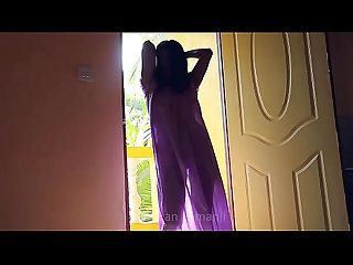 Desi girl dancing in transperent nighty boobs visible in balcony...bouncing..