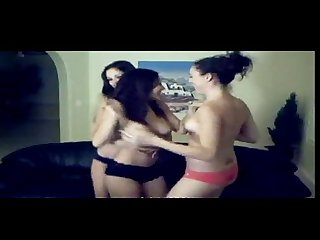 3 Hot brunettes are dancing on web cam showing her bodies