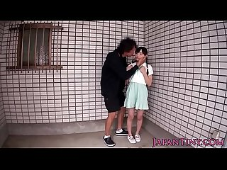 Tiny Japanese babe swallows jizz