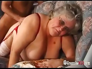 Huge Tits BBW Granny In Stockings Fucks A Young Guy
