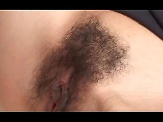 Gorgeous jap babe switching cock from mouth to hairy cunt